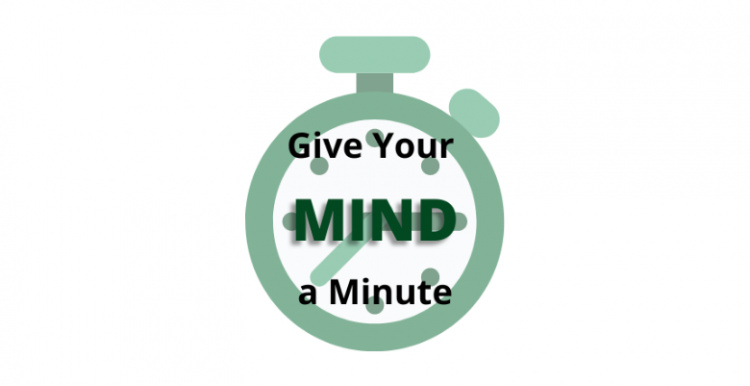 Clock with words Give Your Mind a Minute