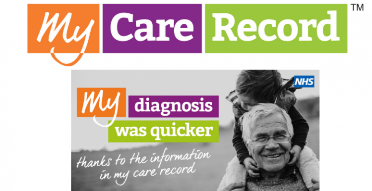 My Care Record logo. Text underneath logo reads 'my diagnosis was quicker thanks to the information in my care record'