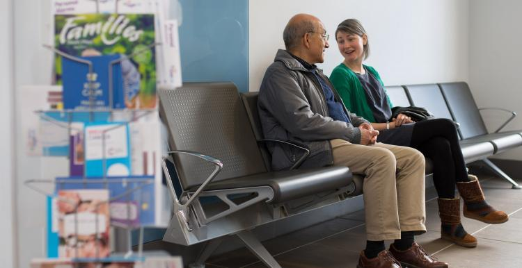 patients talking in waiting room