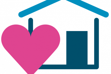 A graphic of a house and heart icon
