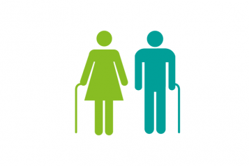 man and woman with walking sticks