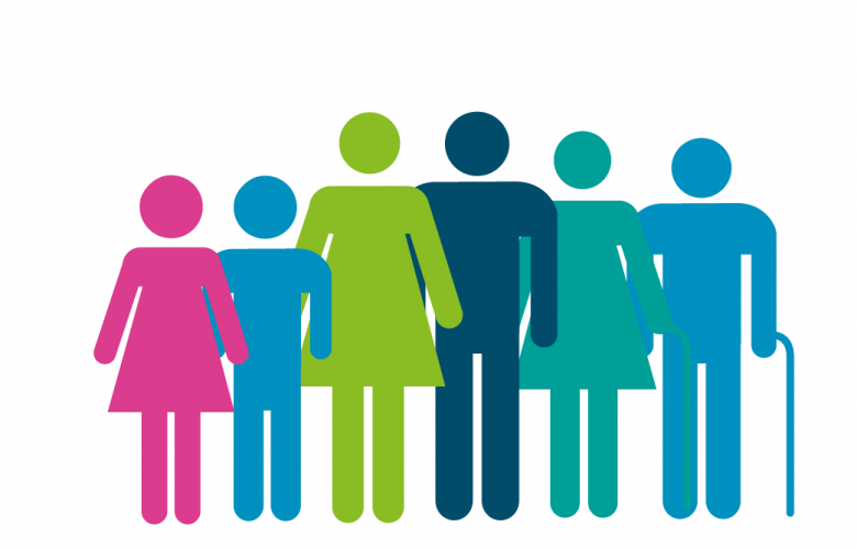 graphics of a group of people of different ages